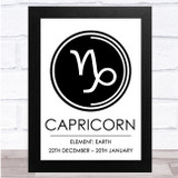Zodiac Star Sign White & Black Symbol Capricorn Wall Art Print