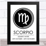 Zodiac Star Sign White & Black Symbol Scorpio Wall Art Print