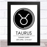 Zodiac Star Sign White & Black Symbol Taurus Wall Art Print