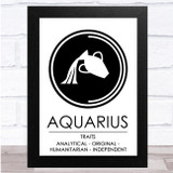 Zodiac Star Sign White & Black Traits Aquarius Wall Art Print