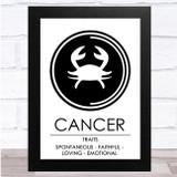 Zodiac Star Sign White & Black Traits Cancer Wall Art Print