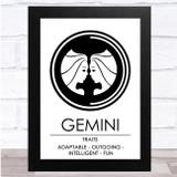 Zodiac Star Sign White & Black Traits Gemini Wall Art Print
