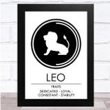 Zodiac Star Sign White & Black Traits Leo Wall Art Print