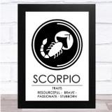 Zodiac Star Sign White & Black Traits Scorpio Wall Art Print