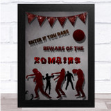 Beware Of Zombies Red Bunting Wall Art Print