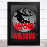 Spooky Halloween Witch Welcome Grey And Red Wall Art Print