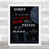 Treats Poem Graveyard Moon Halloween Wall Art Print