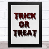 Trick Or Treat White Blood Wall Art Print