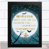 Witch Gold Moon Spider Web Grab A Bag Wall Art Print