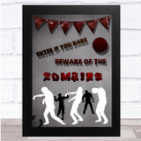 Beware Of Zombies White And Red Bunting Wall Art Print