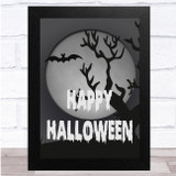 Spooky Halloween Grey And White Wall Art Print