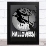 Spooky Halloween Witch Grey And White Wall Art Print