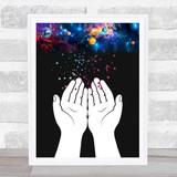 Cosmo Galaxy Little Stars Hands Wall Art Print