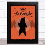 Wild At Heart Orange Bear Silhouette Trees Wall Art Print