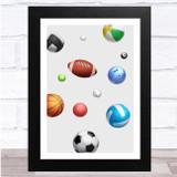 Balls Sports Falling Colourful Wall Art Print