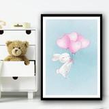 Cute Bunny With Heart Balloon Pink Wall Art Print