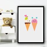 Cute Ice-cream Friend Cartoon Pink Wall Art Print