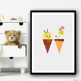 Cute Ice-cream Wink Friend Yellow Wall Art Print