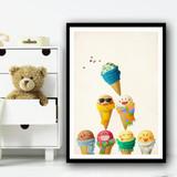 Cute Ice-creams Friends Colourful Pyramid Funny Wall Art Print