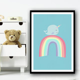Cute Whale On Rainbow Kids Wall Art Print