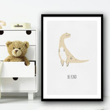 Dino Be Kind Kids Drawing Wall Art Print