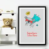 Koala Superhero Lives Here Pow Wall Art Print