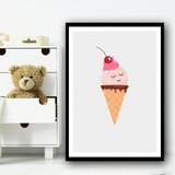 Light Pink Cute Ice-cream Cartoon Eyes Closed Simple Wall Art Print