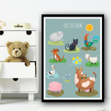 On The Farm Animals And Names Cartoon Wall Art Print