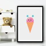 Pink Cute Ice-cream Cartoon Simple Wall Art Print