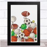 Sports Balls Piled Up Colourful Wall Art Print