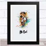 Teddy bear With Phone Be Cool Watercolour Splatter Wall Art Print