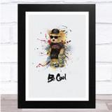 Teddy bear With Skateboard Be Cool Watercolour Splatter Wall Art Print