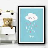 Cloud Sleep Colourful Raindrops Cute Wall Art Print