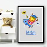 Yellow Bear Superhero Lives Here Pow Wall Art Print