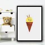 Yellow Cute Ice-cream Cartoon Simple Wall Art Print