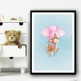 Cute Baby Deer With Heart Balloon Pink Wall Art Print