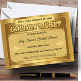 Golden Ticket Customised Bridal Shower Party Invitations