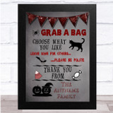 Grab A Bag Grey And Red Halloween Personalised Wall Art Print