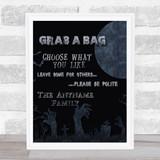 Grab A Bag Poem Graveyard Moon Personalised Wall Art Print