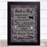 Grab A Bag Purple Damask Halloween Personalised Wall Art Print