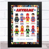Personalised Favourite Superhero Characters Wall Art Print