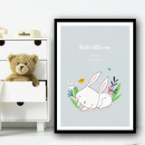Hello Little One Cute White Rabbit Sleeping Floral Personalised Wall Art Print