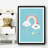 Rainbow With Two Clouds Cute Stars And Raindrops Personalised Wall Art Print