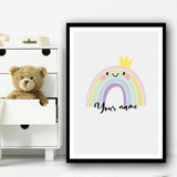 Smiling Rainbow Pastel Colours Crown Personalised Wall Art Print