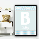Baby Blue Zig Zag And Circles Any Initial Any Name Personalised Wall Art Print