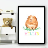 Guinea Pig White Background Any Name Personalised Wall Art Print