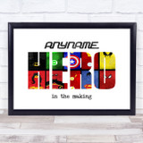 Hero Characters Letter Any Name Personalised Wall Art Print