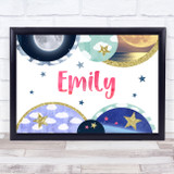 Landscape Universe Pink Watercolour Any Name Personalised Wall Art Print