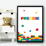 Lego Falling Colourful Any Name Personalised Wall Art Print
