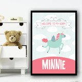 Light Blue Unicorn Clouds Welcome To My Room Personalised Wall Art Print